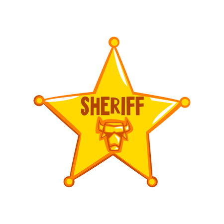 Golden sheriff star badge, American justice emblem vector Illustration on a white background Illusztráció