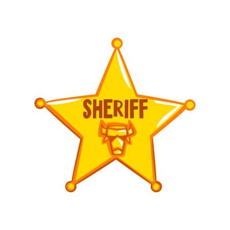 Golden sheriff star badge, American justice emblem vector Illustration on a white background Illustration