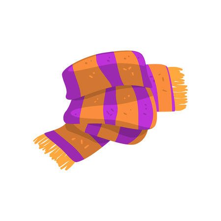 Twisted striped scarf in orange and purple colors with fringe on the ends. Warm winter accessory. Colorful flat vector design