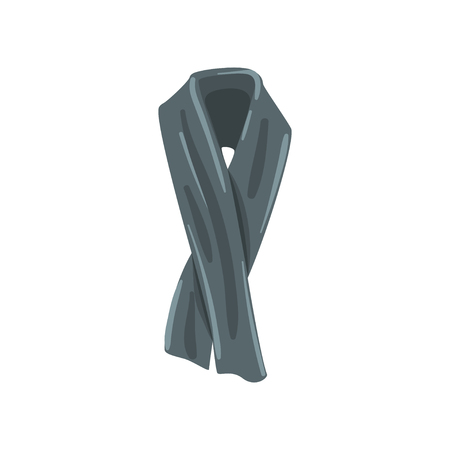 Elegant gray cashmere or cotton scarf for men. Fashionable accessory for cold weather. Element of clothing. Flat vector design
