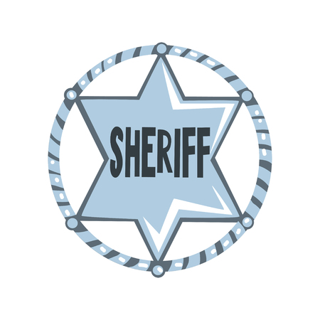 Silver sheriff star badge, American justice emblem vector Illustration on a white background Illustration