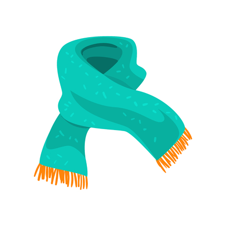 끝 부분에 주황색 프린지가있는 청록색 모직 스카프. 겨울 의류의 요소. 추운 날씨를위한 액세서리. 평면 벡터 디자인