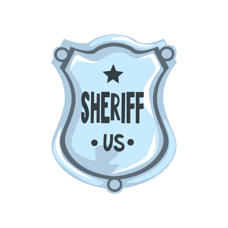 Silver sheriff shield badge, American justice emblem vector Illustration on a white background