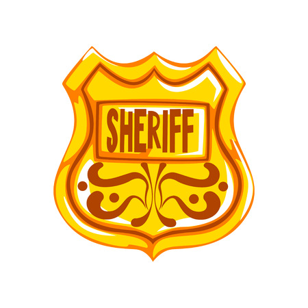 Golden sheriff shield badge vector Illustration on a white background