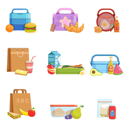 Flat vector set of school lunch boxes and bags with food and drinks. Tasty meal for kids