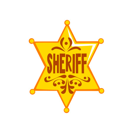 Golden hexagonal sheriff star badge vector Illustration on a white background