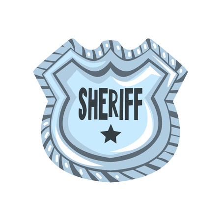 Sheriff shield badge, American justice emblem vector Illustration on a white background