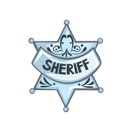 Silver sheriff star badge vector Illustration on a white background Illusztráció