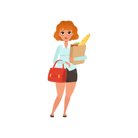 Fat red-haired lady with handbag and paper shopping bag with groceries. Woman in black skirt and blue blouse. Flat vector design Illustration