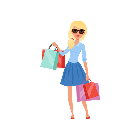 Young blond girl holding lots of colorful shopping bags. Pretty woman in sunglasses, blue blouse and skirt. Flat vector design