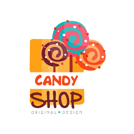 Candy hop design template, sweet store badge vector Illustration on a white background