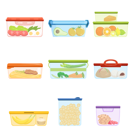 Flat vector set of plastic containers with food vegetables, fruits, sweets, macaroni. Dessert for lunch. Mashed potatoes with pork chop Illustration