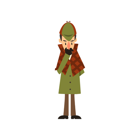detective character thinking vector Illustration on a white background Illustration