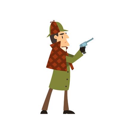 detective character holding gun vector Illustration on a white background Illustration