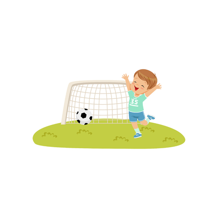 Cute smiing boy threw the ball into the goal, kids physical activity concept vector Illustration on a white background Stockfoto - 102286994