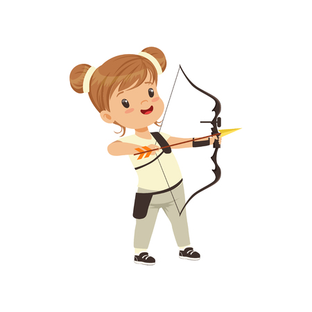Little girl practicing in archery, kids physical activity concept vector Illustration on a white background