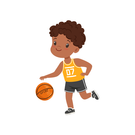 Cute little african american boy playing basketbal, kids physical activity concept vector Illustration on a white background