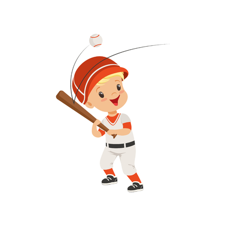 Baseball player boy hitting the ball, kids physical activity concept vector Illustration on a white background