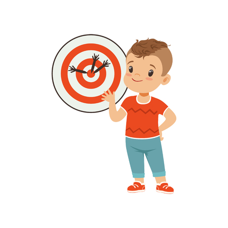 Cute boy playing darts, kids physical activity concept vector Illustration on a white background