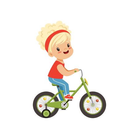 Lovely little girl riding bike, kids physical activity concept vector Illustration on a white background