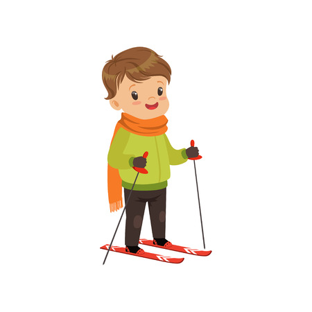 Cute boy skiing, winter sport and outdoor activity concept vector Illustration on a white background