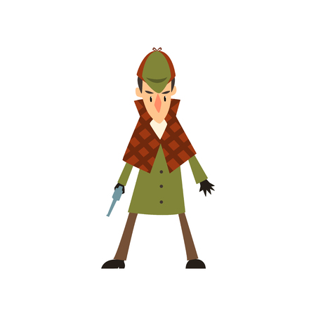 detective character with gun vector Illustration on a white background