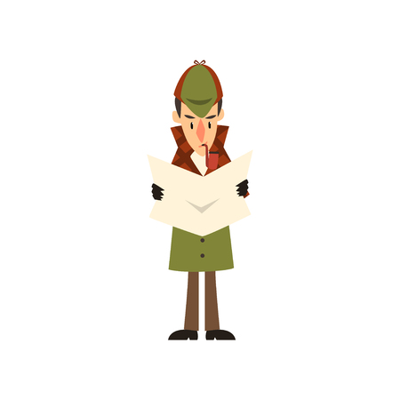 detective character reading newspaper vector Illustration on a white background.