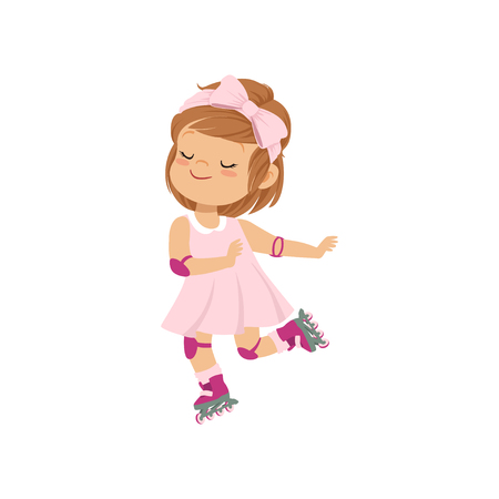 Sweet little girl in pink dress skating on roller skate, kids physical activity concept vector Illustration on a white background