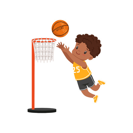 African american boy throwing ball into basket ring, kids physical activity concept vector Illustration on a white background