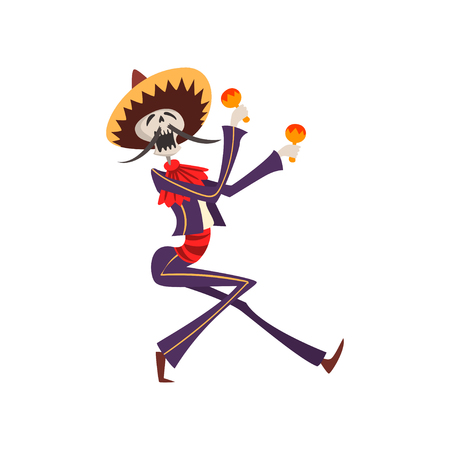 Skeleton in Mexican national costume playing maracas, Dia de Muertos, Day of the Dead vector Illustration on a white background
