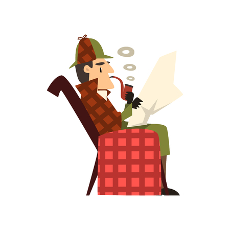 detective character sitting in armchair and smoking tobacco pipe vector Illustration on a white background