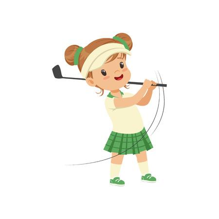 Urocza mała dziewczynka gra w golfa, dzieci koncepcja aktywności fizycznej wektor ilustracja na białym tle