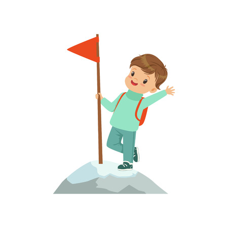 Cute boy standing in mountain top wih flag, kids physical activity concept vector Illustration on a white background