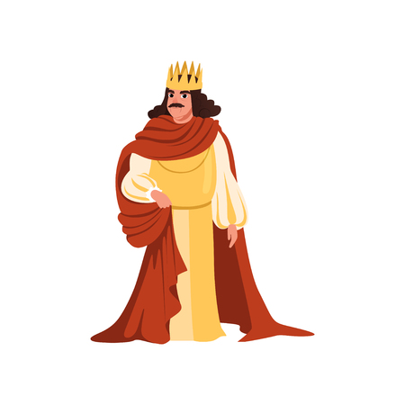 Majestic king in golden crown and red mantle European medieval character vector Illustration on a white background Illustration