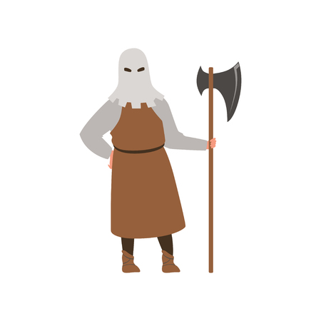 Medieval executioner character standing with ax vector Illustration on a white background Ilustracja
