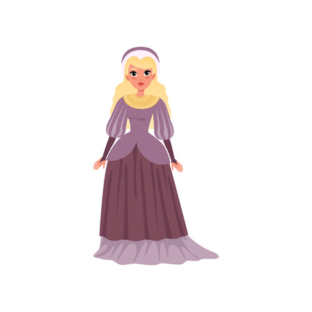 Young woman in medieval dress vector Illustration on a white background Çizim