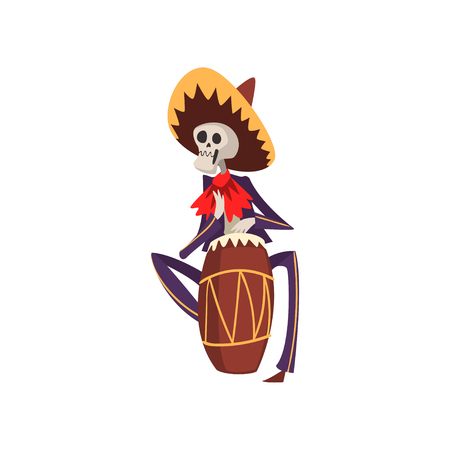 Skeleton in Mexican national costume playing playing the ethnic drum, Dia de Muertos, Day of the Dead vector Illustration on a white background Illustration