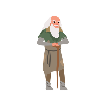 Old man in medieval clothes wirh wooden stuff vector Illustration on a white background