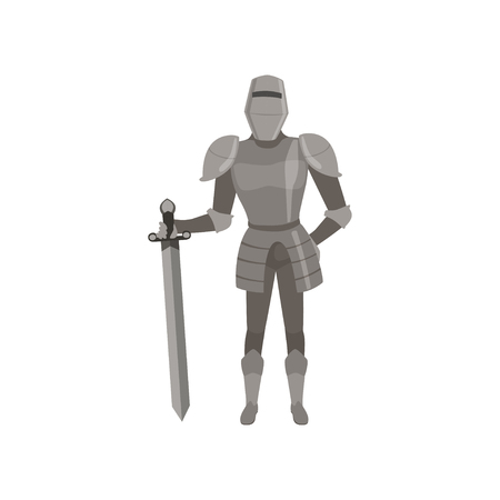 Medieval amed knight character standing with sword vector Illustration on a white background Vectores