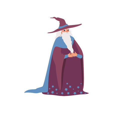 Magic old man medieval character wearing robe and pointed hat vector Illustration on a white background Illustration