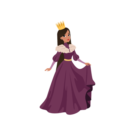 Majestic queen in golden crown European medieval character vector Illustration on a white background
