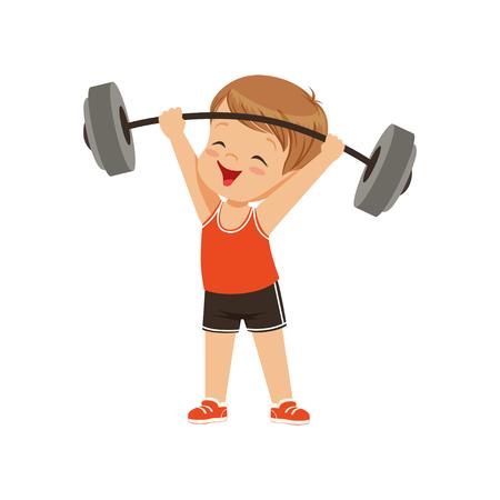 Netter Junge, der schwere Langhantel, Kinder körperliche Aktivität Konzeptvektor Illustration auf einem weißen Hintergrund hebt