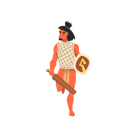 Armed tribal male warrior, tribe member in traditional clothing with weapon vector Illustration on a white background