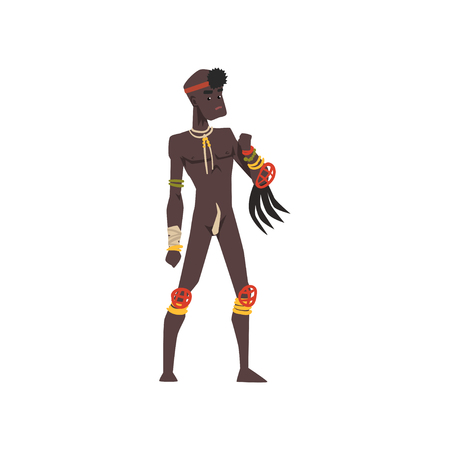 Black native man of African tribe vector Illustration on a white background Иллюстрация