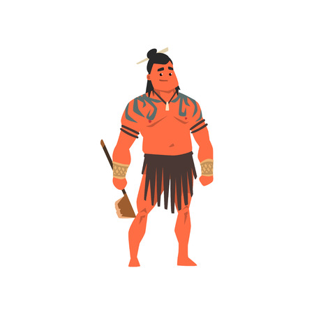 Armed native people of African tribes, Australian and American aboriginal set, tribe members in traditional clothing vector Illustrations isolated on a white background.
