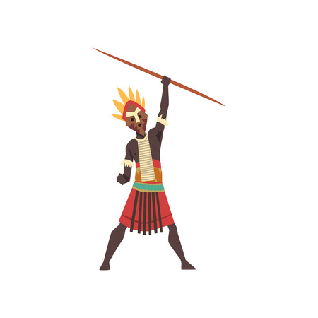 Warlike black native man of African tribe holding spear vector Illustration on a white background Illustration