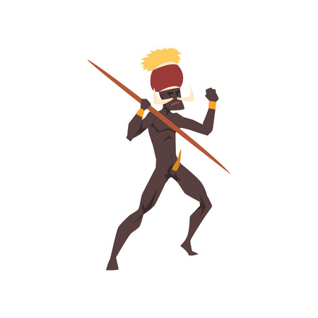 Black native man of African tribe holding spear vector Illustration on a white background