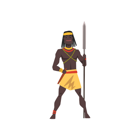 Black native man of African tribe weraing loincloth standing with spear, tribal member in traditional clothing vector Illustration on a white background