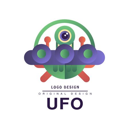 Ufo   original design, badge with saucer and alien vector Illustration on a white background Stock Illustratie