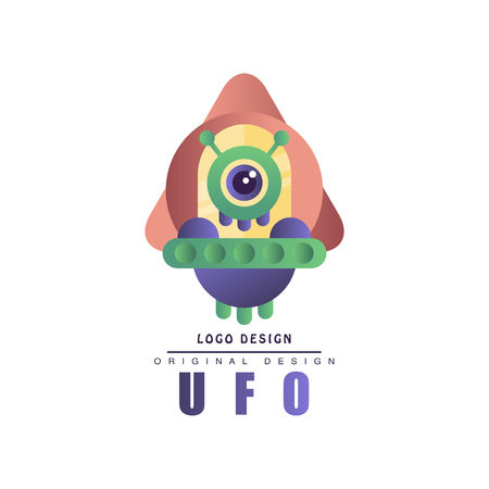Ufo   original design, label with alien spaceship vector Illustration on a white background